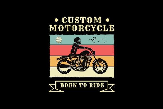 Motocicleta personalizada, design de silhueta estilo retro