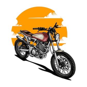 Motocicleta retrô com cor sólida