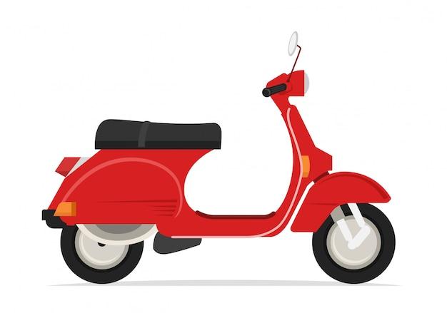 Motocicleta scooter clássico vermelho
