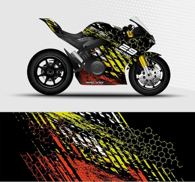 Motocicleta sportbikes embrulham decalque e desenho de adesivo de vinil com fundo abstrato