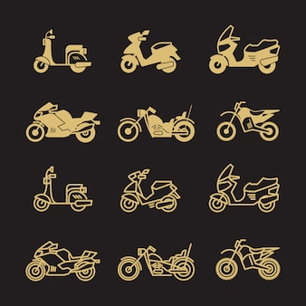 Motocicleta vintage e motocicleta ícones conjunto isolado no fundo preto