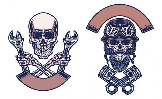 Motocicletas de caveiras, mão desenhada linha com cor digital, ilustração
