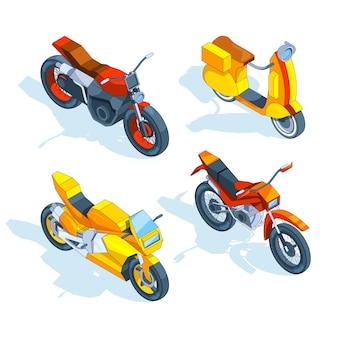 Motocicletas isométricas. 3d
