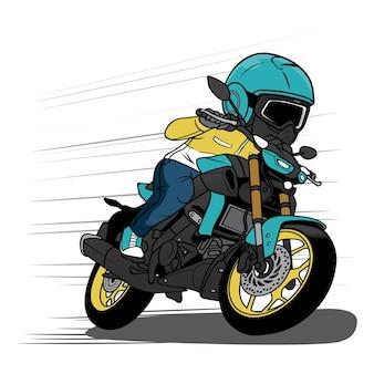 Motociclista acelera com desenho de motocicleta