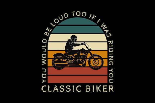 Motociclista clássico, design silt estilo retro