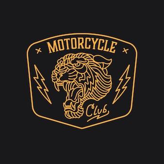 Motociclista com logotipo de motocicleta com emblema vintage monoline tiger