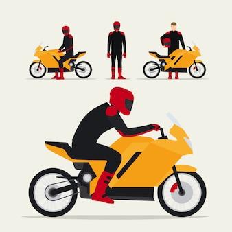 Motociclista com moto
