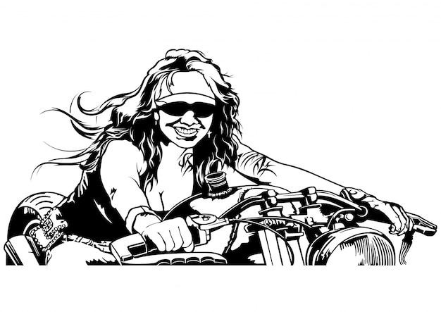 Motociclista da mulher do b & w