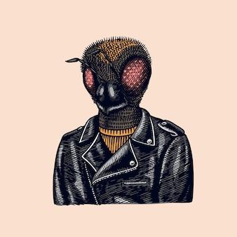 Motociclista de abelha. voe com uma jaqueta de couro.