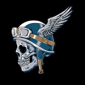 Motociclista de caveira vintage com logotipo de vetor de asas