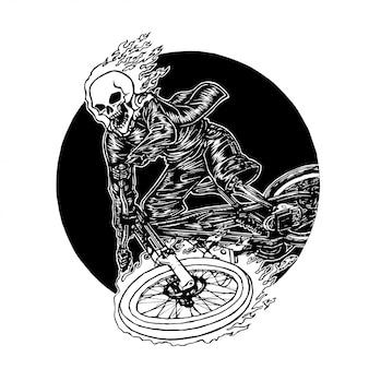 Motociclista de crânio em chamas, monocromático mão desenhada ilustração vetorial