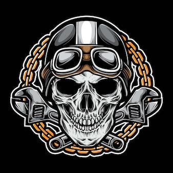 Motociclista de crânio vintage