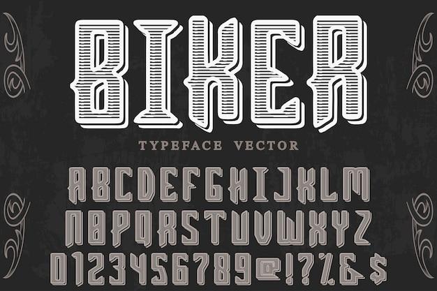 Motociclista de design de rótulo retro letras