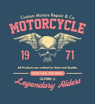 Motociclista de design vintage desenhado à mão. ilustração da composição.