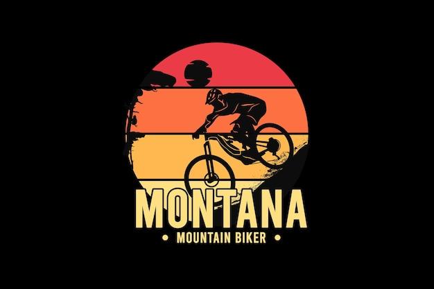 Motociclista de montanha em montana, ilustração de desenho à mão em estilo vintage retrô
