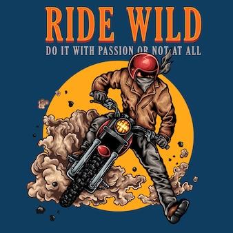 Motociclista de moto vintage