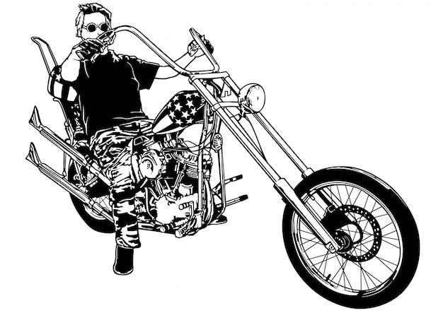 Motociclista em moto chopper