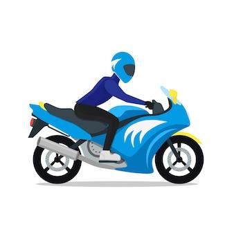 Motociclista em moto em estilo design plano