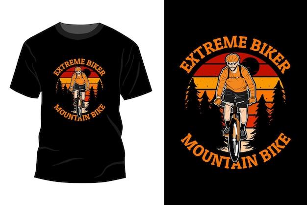 Motociclista extremo mountain bike maquete de design vintage retro