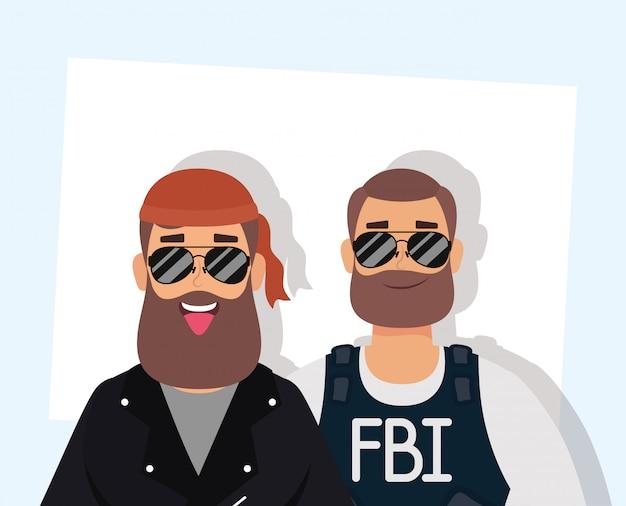 Motociclista homem com barba e agente do fbi