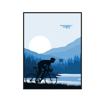 Motociclista na encosta