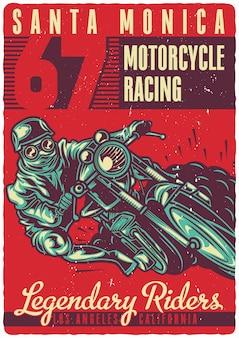 Motociclista na motocicleta