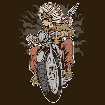 Motociclista nativo indiano