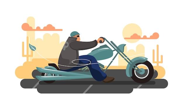 Motociclista que monta a motocicleta verde com deserto e cacto na ilustração lisa do fundo.