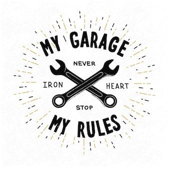 Motociclista tipográfico vintage ou design de oficina mecânica