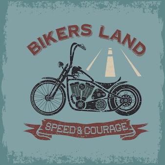 Motociclistas de cartaz grungeintage aterrissam com moto