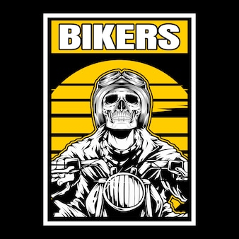 Motociclistas de crânio usando capacete