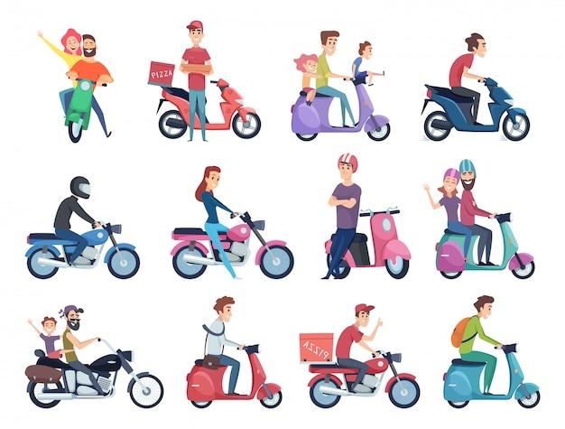 Motociclistas. motoristas masculinos e femininos no capacete na coleção de fotos de personagens de correio rápido de bicicleta