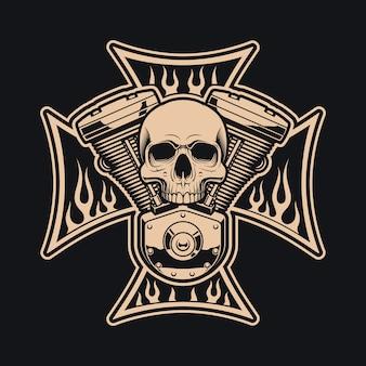 Motociclistas preto e branco cruzam com motor de motocicleta. isso pode ser usado como um logotipo, designs de vestuário