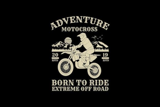 Motocross de aventura, design de silhueta estilo retro