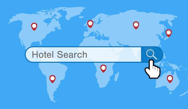 Motor de busca de hotel com mapa do mundo e ícone de gps