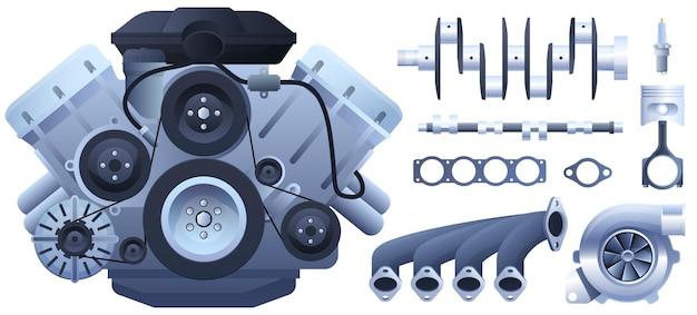 Motor de carro. pistões, gerador, turbocompressor. isolado em um fundo branco. Vetor Premium