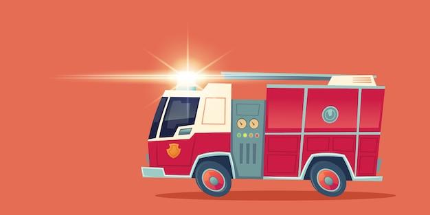 Motor de fogo vermelho, caminhão de resgate de emergência