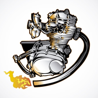 Motor de moto desenhado a mão