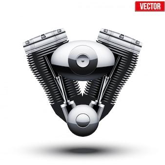 Motor de moto retrô. ilustração.