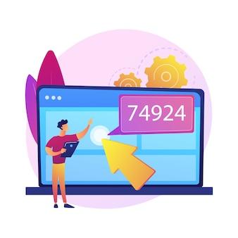 Motor de otimização de busca. personagem de desenho animado especialista em seo, aumentando o tráfego e a visibilidade do site. marketing na internet, publicidade, segmentação.