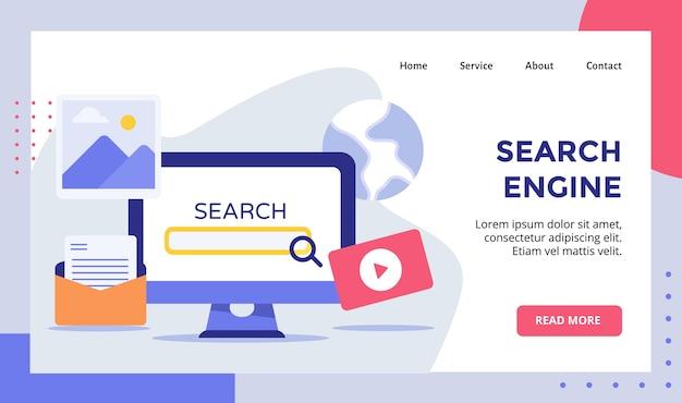 Motor de pesquisa seo lupe ampliação no monitor de exibição campanha de computador para site da web página inicial página inicial banner flyer com moderno estilo simples