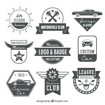 Motor logos retro e insígnias definir