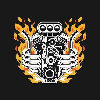 Motor turbo de carro de ilustração com fogo no tubo de escape
