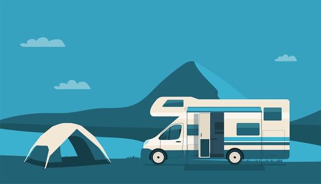 Motorhome e tenda no fundo de uma paisagem montanhosa abstrata