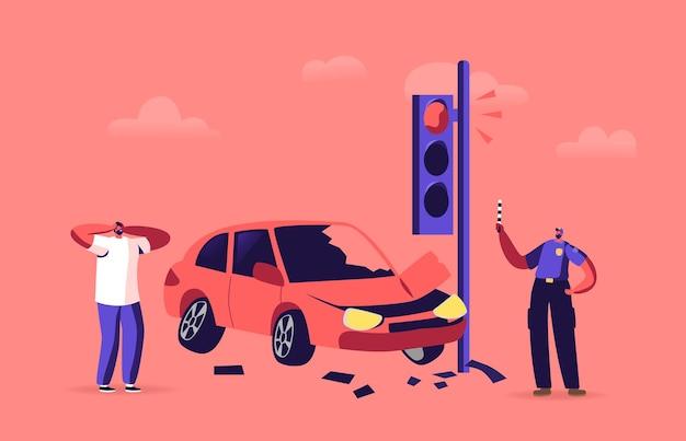 Motorista chateado após acidente de carro na estrada, personagem masculino estressado gritando stand na estrada