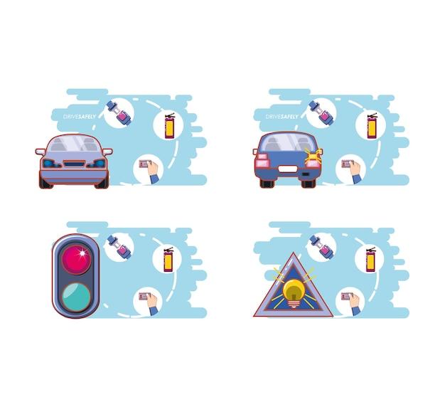 Motorista com segurança campanha conjunto ícones ilustração vetorial design