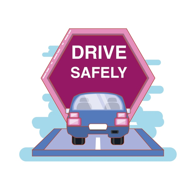 Motorista com segurança campanha rótulo vector illustration design
