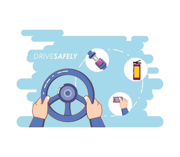 Motorista com segurança campanha rótulo vector illustration design Vetor Premium