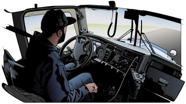 Motorista de caminhão profissional dirigindo caminhão