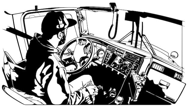 Motorista de caminhão profissional dirigindo veículo de caminhão em uma longa rota de transporte